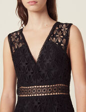 Midi-Kleid aus Lochstickerei-Spitze : LastChance-ES-F50 farbe Schwarz