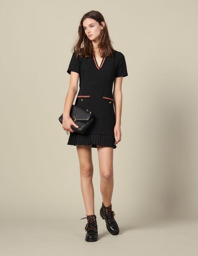 Kurzes Kleid Mit Bortenverzierung : Kleider farbe Schwarz