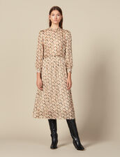 Midi-Kleid Aus Lurex-Seide Mit Print : FBlackFriday-FR-FSelection-30 farbe Beige