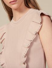 Kleid aus Rippstrick mit Perlen : Kleider farbe Hautfarbe