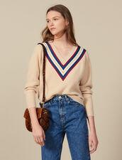Pullover mit V-Ausschnitt und Borten : Pullover & Cardigans farbe Beige