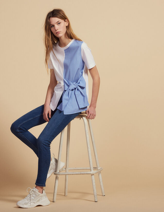 T-Shirt Im Materialmix Zum Binden : T-shirts farbe Ecru
