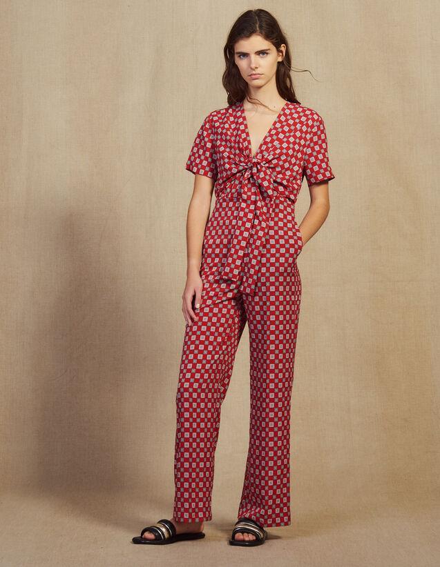 Fließender Jumpsuit Mit Print : Overalls farbe Rot