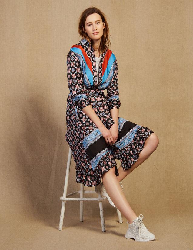Fließendes Hemdkleid Mit Print : Kleider farbe Blau