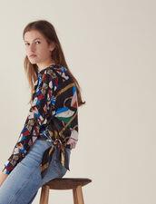 Bedrucktes Seidentop Mit Langen Ärmeln : Tops & Hemden farbe Schwarz