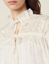Fließende Hemdbluse Mit Lurex-Streifen : null farbe Ecru