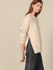 Pullover mit perlenbesticktem Schlitz : LastChance-ES-F30 farbe Beige