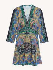 Kurzes Kleid mit Print : Kleider farbe Schwarz