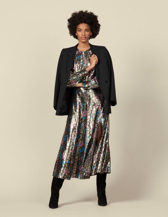 Langes Kleid aus Lurex-Jacquard : Kleider farbe Bunt