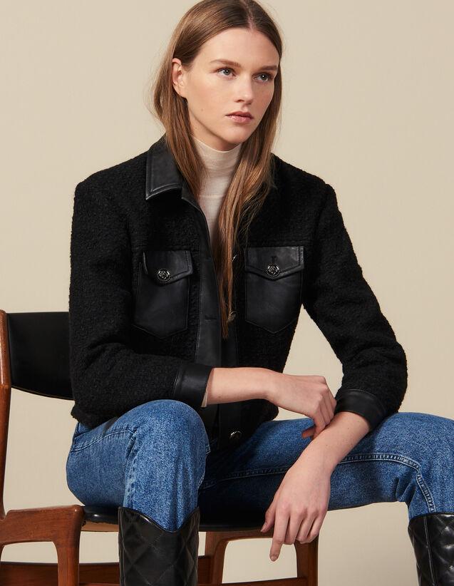 Tweed-Blouson mit Lederdetails : Blousons & Jacken farbe Schwarz