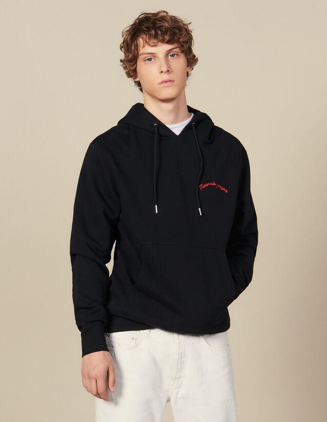 Hoodie Mit Stickerei-Schriftzug : Sweatshirts farbe Schwarz