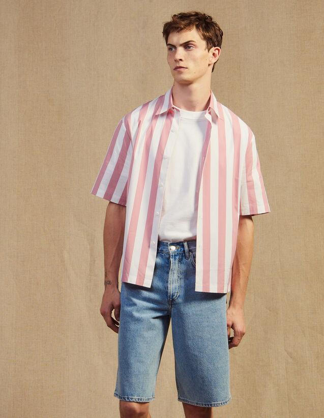 Kurzärmeliges Gestreiftes Casual-Hemd : Sonnenbad farbe Rosa