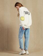 Weste Mit Kontrastierendem Schriftzug : Pullover & Cardigans farbe Ecru