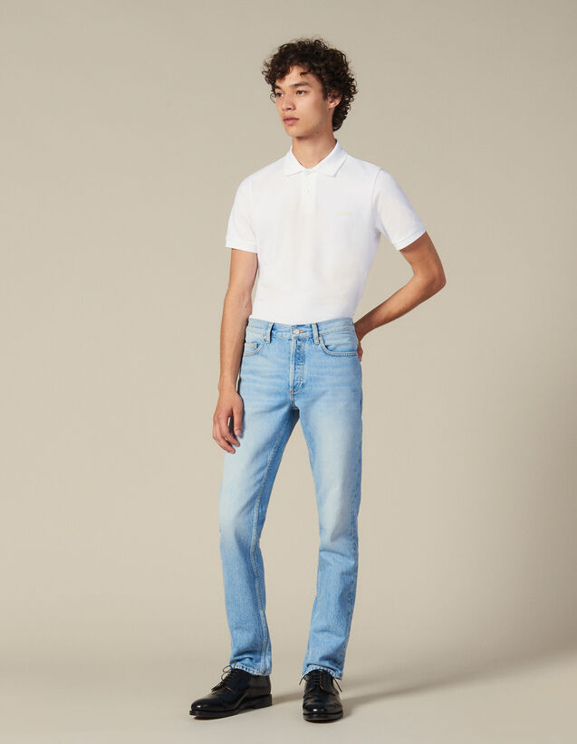 Verwaschene Slim-Fit-Jeans : Die ganze Winterkollektion farbe Blue Vintage - Denim