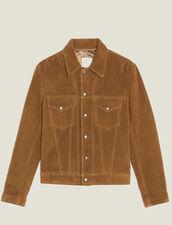 Trucker-Jacke Aus Spaltleder : Blousons & Jacken farbe Camel
