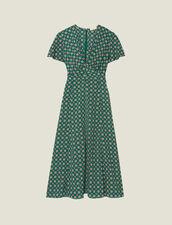 Fließendes Kurzarm-Kleid Mit Print : null farbe Grün