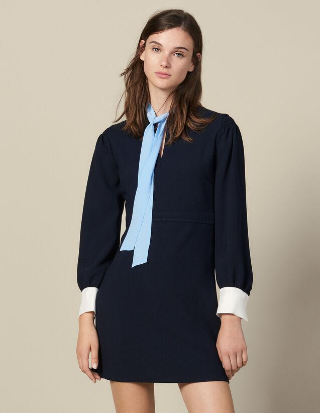 Kurzes Kleid mit Lavallière-Kragen : FBlackFriday-FR-FSelection-30 farbe Marine