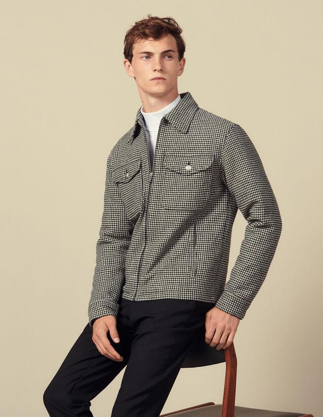 Blouson aus Wolle mit Hahnentrittmuster : Blousons & Jacken farbe Schwarz/Weiss