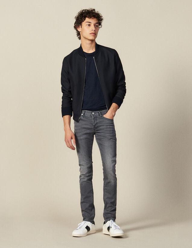 Jeans grau verwaschen – Passform: schmal : Jeans farbe Grau