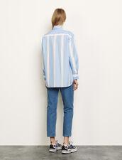Gestreifte Oversize-Hemdbluse : Tops & Hemden farbe Ciel