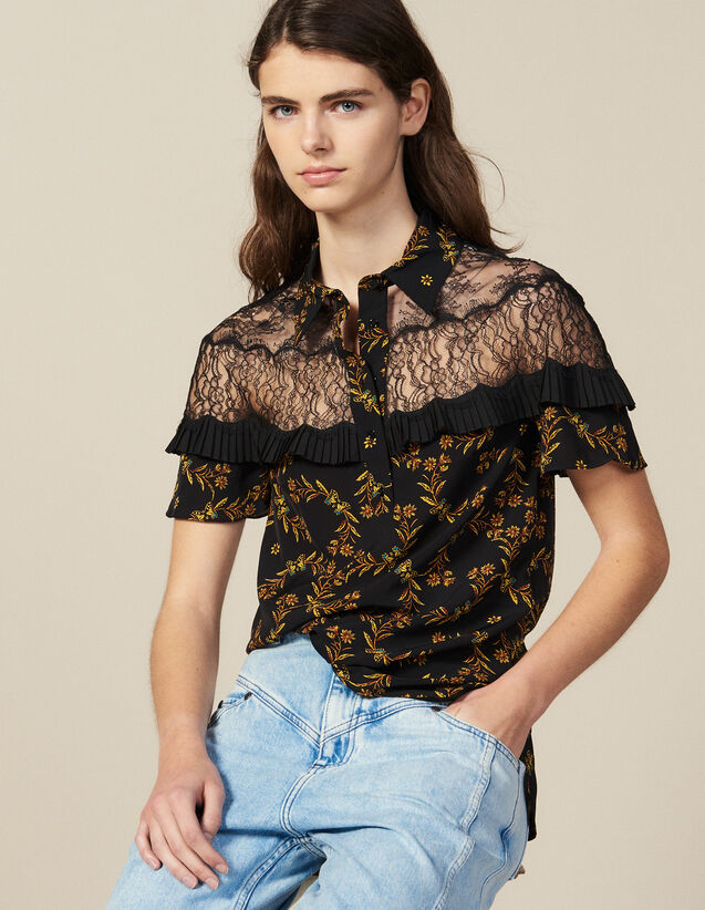 Kurzärmelige Hemdbluse Mit Print : Tops & Hemden farbe Schwarz