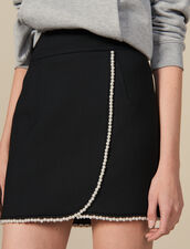 Kurzer Rock mit Perlenverzierung : LastChance-ES-F40 farbe Schwarz