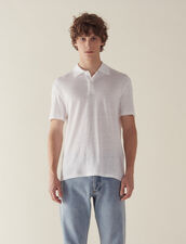 Kurzärmeliges Leinen-Poloshirt : Sélection Last Chance farbe Weiß