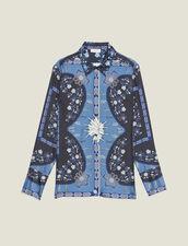 Fließende Seidenhemdbluse Mit Print : null farbe Blau