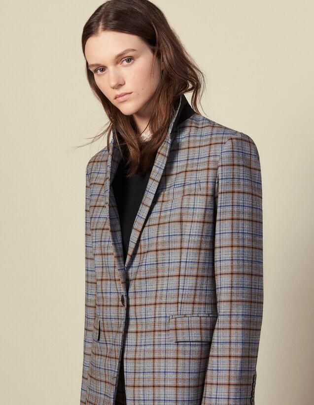 Blazer aus Wolle mit Karomuster : FBlackFriday-FR-FSelection-30 farbe Grau