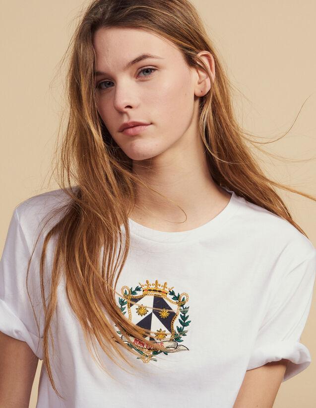Kurzes T-Shirt Mit Stickerei : null farbe Weiß