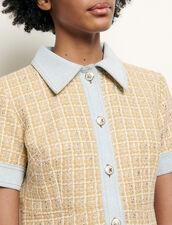 Edles Kleid aus tweed und Jeans : Kleider farbe Beige