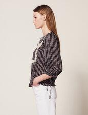 Bedruckte Bluse Mit 3/4-Ärmeln : Bedrucktes Hemd farbe Schwarz