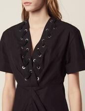 Kurzes Kleid Mit Ösenverzierung : Kleider farbe Schwarz