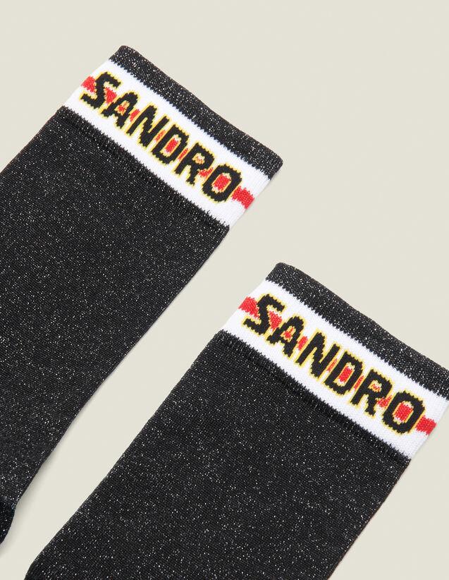 Lurex-Strümpfe Mit Sandro Logo : Socken farbe Schwarz