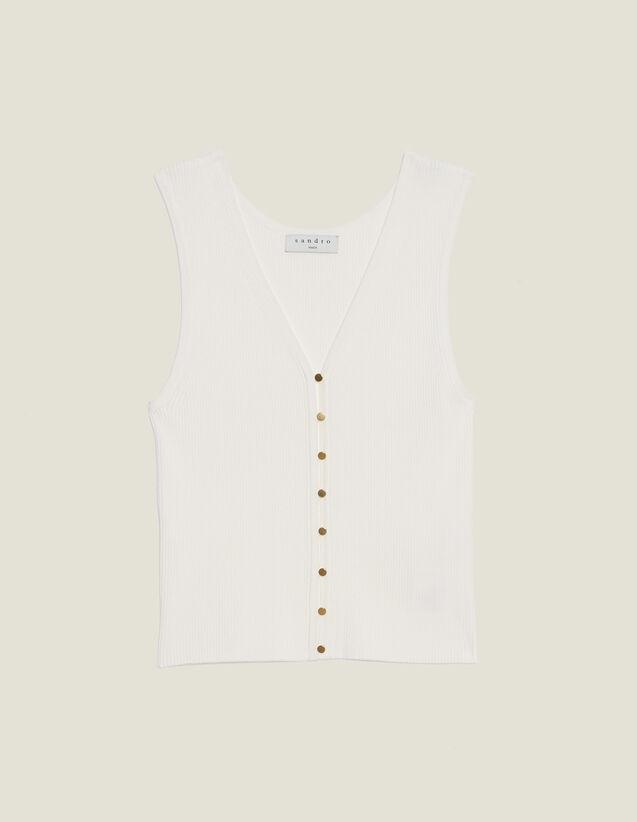 Stricktop Mit Schmuckknöpfen : Tops & Hemden farbe Weiß