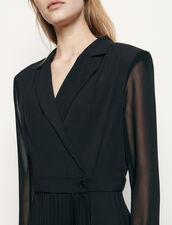 Kleid aus Materialmix mit langen Ärmeln : Kleider farbe Schwarz