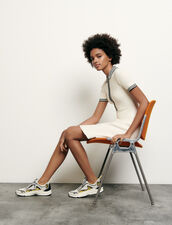 Strickkleid im Polostil : Kleider farbe Ecru