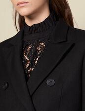 Körperbetonter langer Wollmantel : Mäntel farbe Schwarz