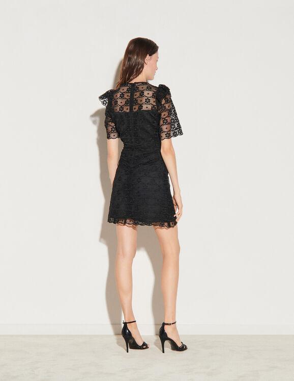 Kleid mit kurzen Ärmeln aus Spitze SFPRO01324 Schwarz ...