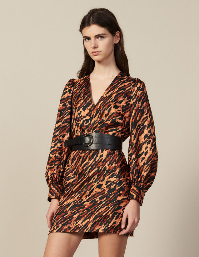 Kurzes Kleid Aus Seide Mit Print : Kleider farbe Fauve
