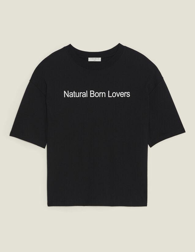 Oversize-T-Shirt Mit Kontrast-Schriftzug : T-shirts farbe Schwarz