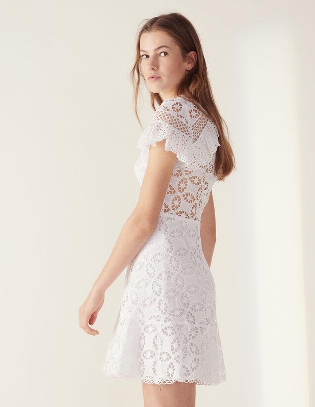 Spitzenkleid Mit Volant : Kleider farbe Weiß