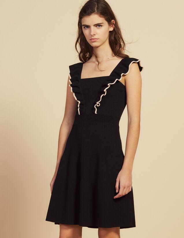 Kurzes Kleid Mit Volant-Armausschnitten : null farbe Schwarz