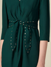 Schulterkleid mit Strassgürtel : Kleider farbe Grün