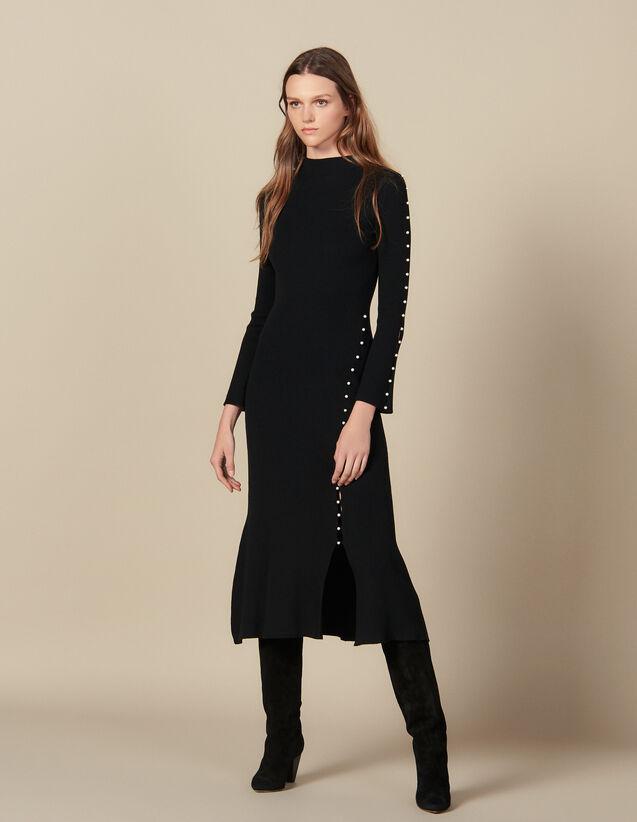 Langes Strickkleid mit Perlenverzierung : Kleider farbe Schwarz