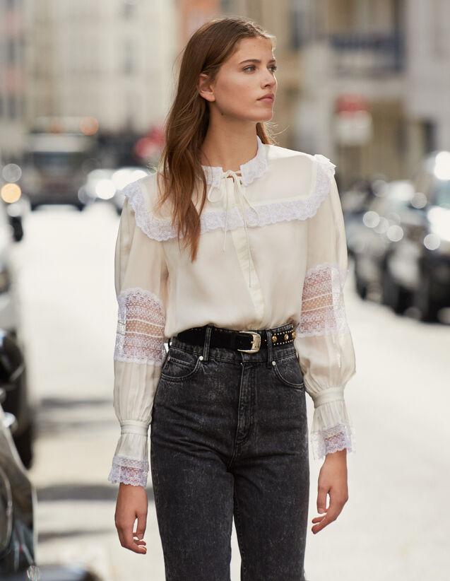 Hemdbluse Mit Spitzenverzierung : Tops & Hemden farbe Ecru