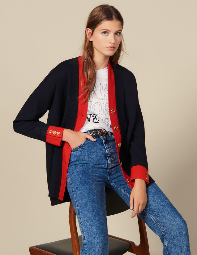 Langer Cardi-coat mit Layer-Effekt : Pullover & Cardigans farbe Marine