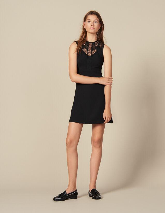 Kleid Mit Spitzeneinsätzen : Kleider farbe Schwarz
