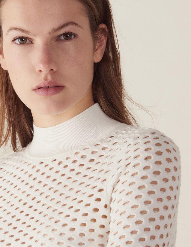 Langarm-Pullover In Netzoptik : null farbe Weiß