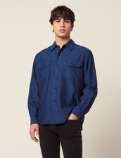 Chevron-Hemd Aus Fließendem Stoff : Hemden farbe Blau